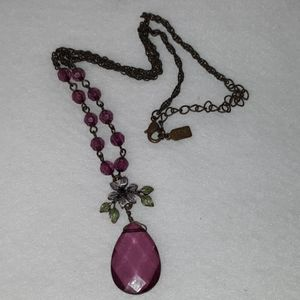 VINTAGE 1928 RUSTIC NECKLACE W/ PURPLE BEADS
